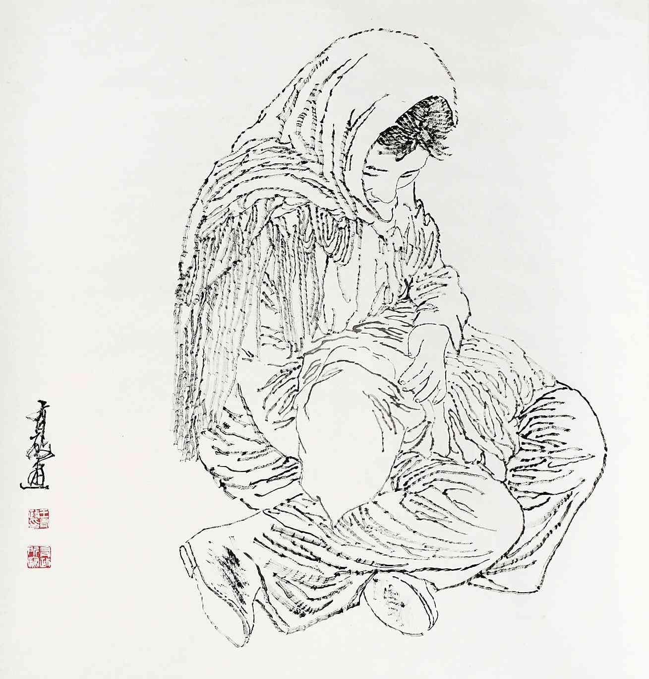 关于母爱的手绘背影图