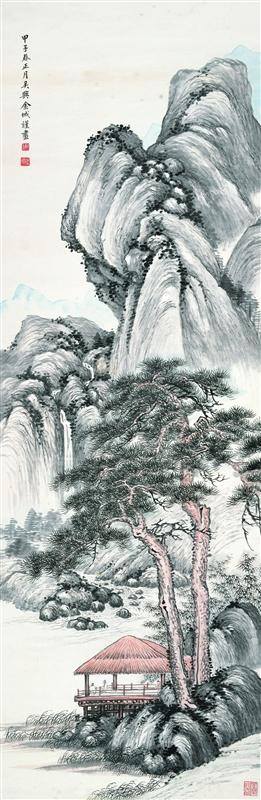 松亭观瀑图