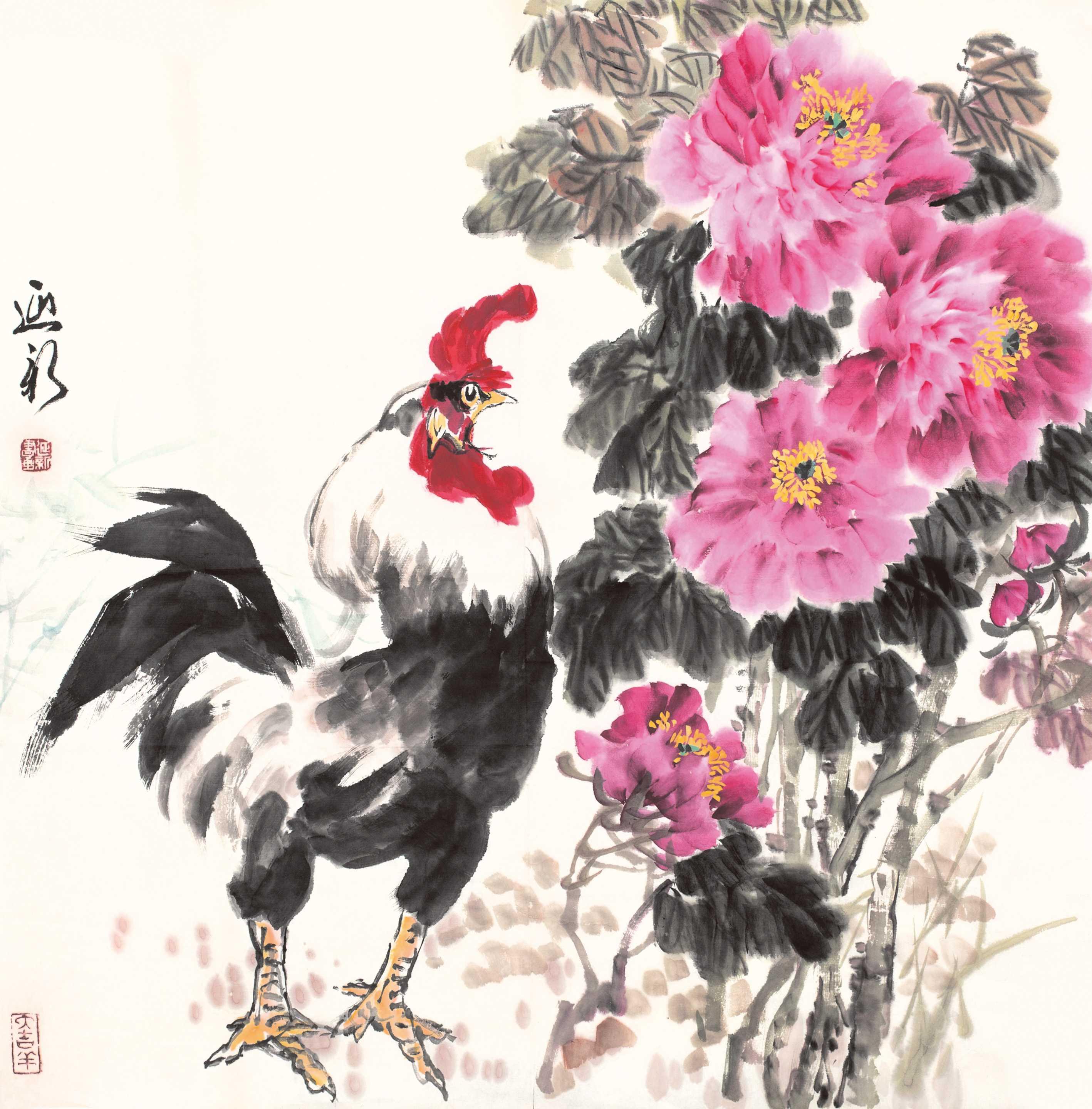 0938   尹延新  雄鸡牡丹图片