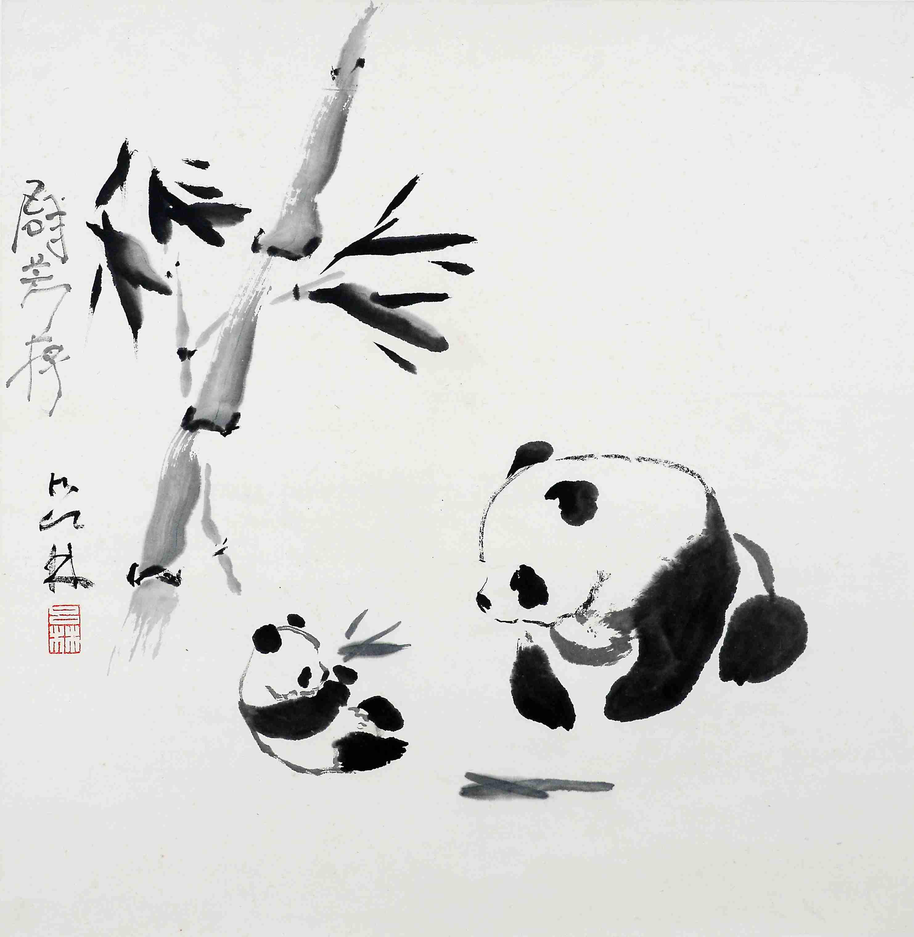 熊猫水墨画步骤