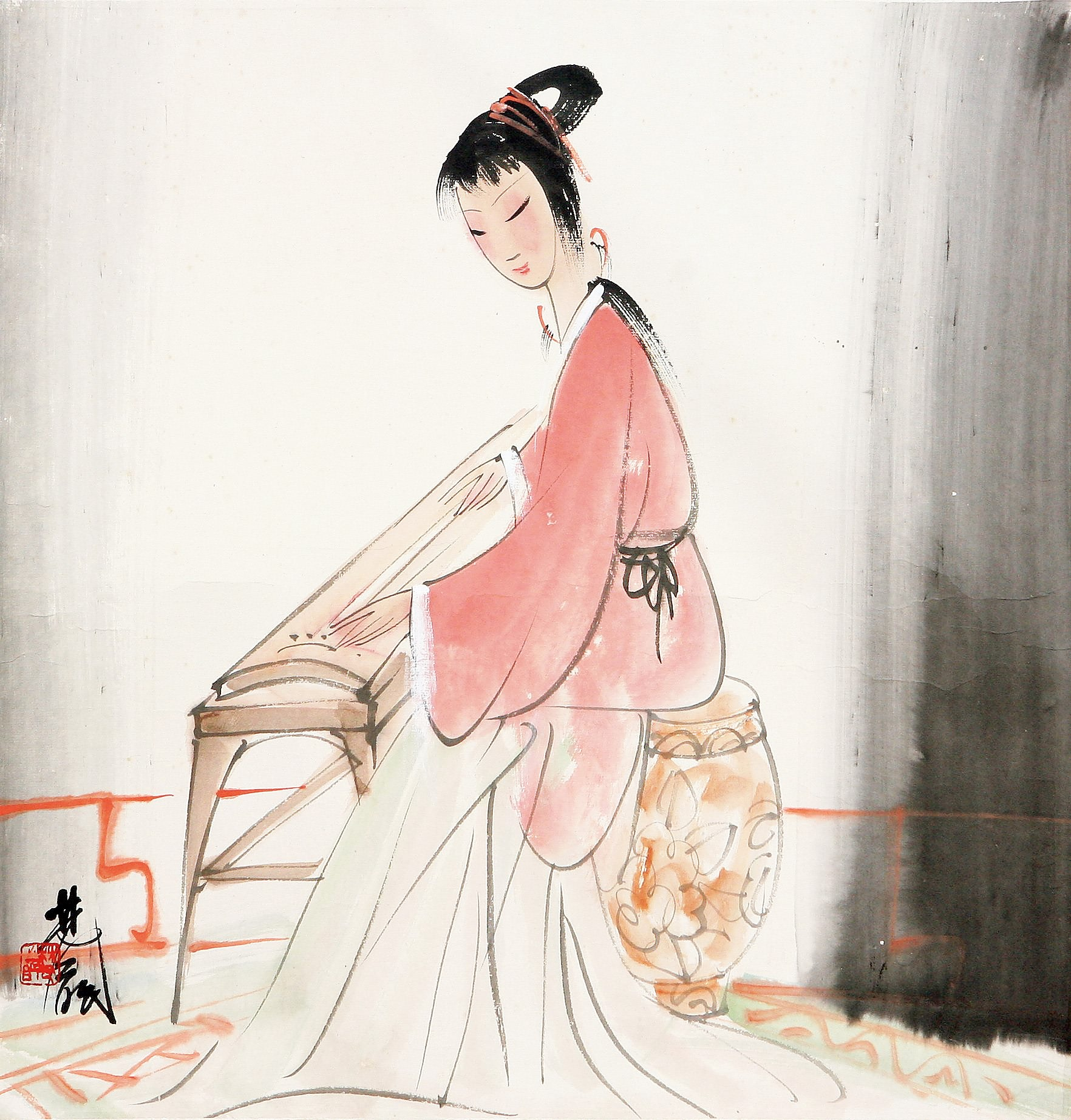 古装美女抚琴手绘彩铅