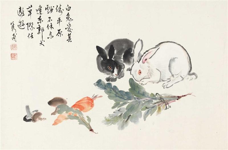 国画兔子图片可爱