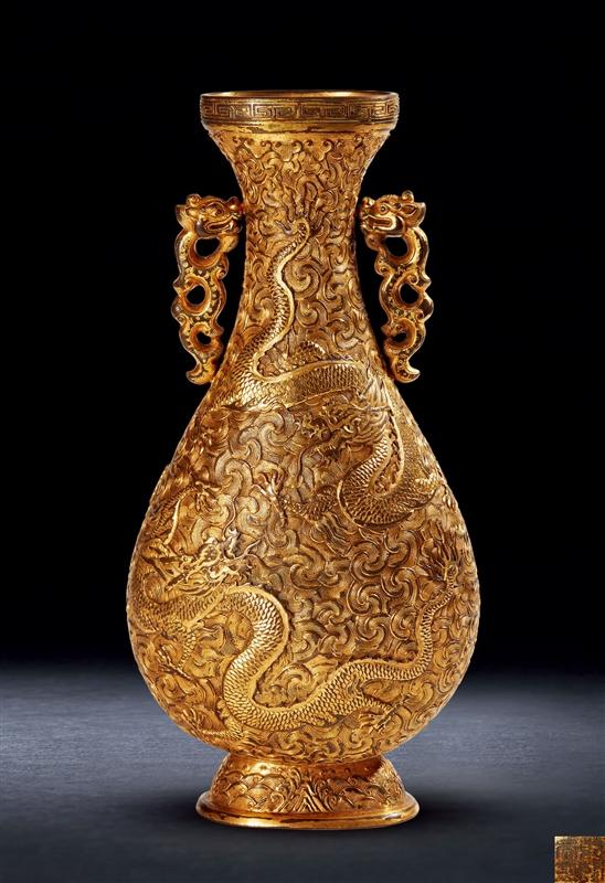 清乾隆 铜鎏金龙纹双耳瓶