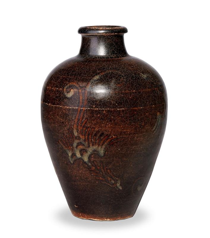 元 凤纹黑釉梅瓶