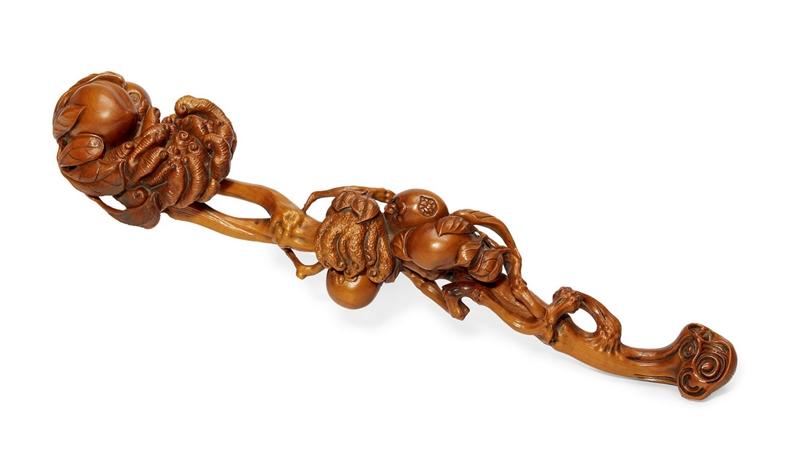 清中期 黄杨木雕『多子多福』如意