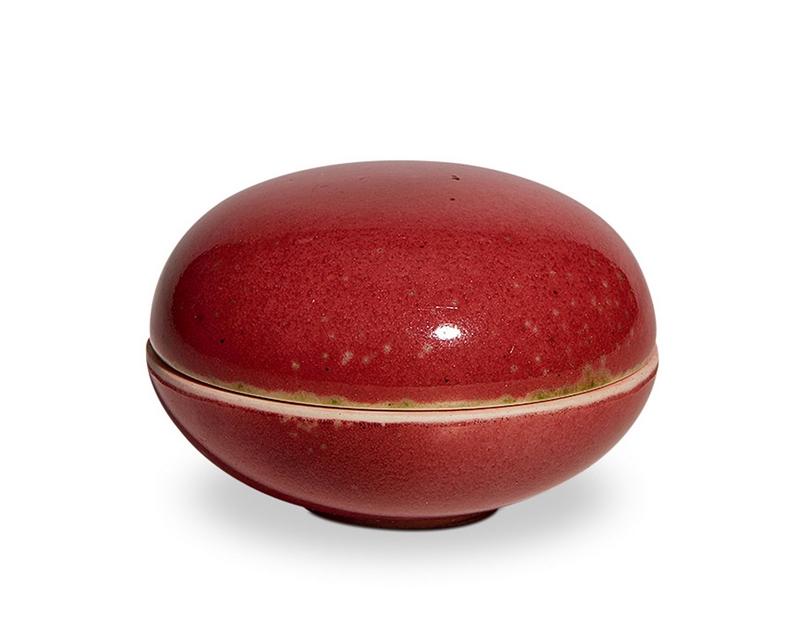 清康熙 豇豆红小印盒