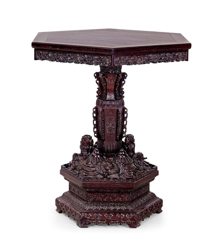 清 紫檀雕海水江崖六角桌