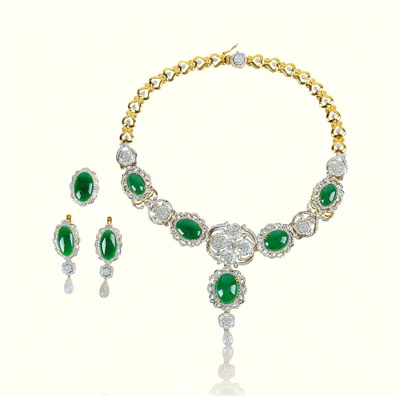 绿翡翠项链、戒子、耳环