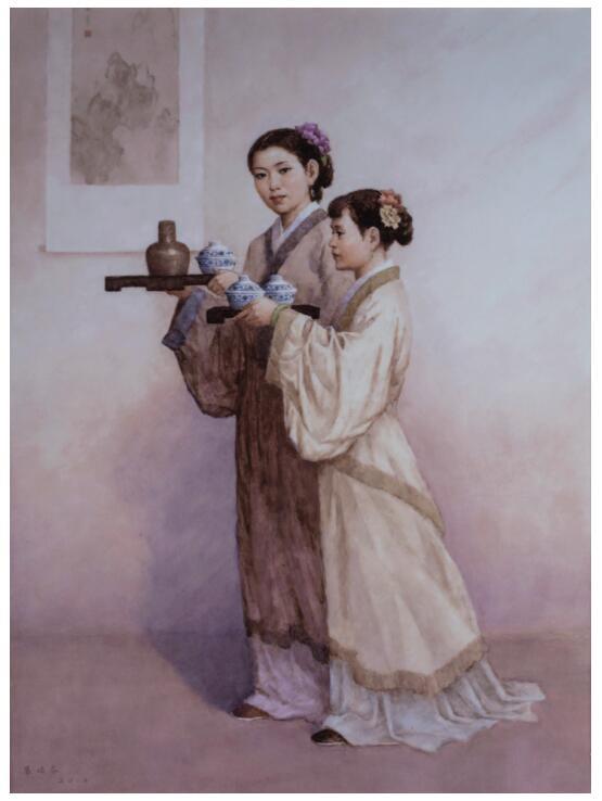 黄俭农粉彩茶韵瓷板