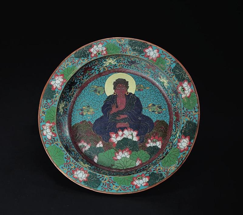 明 铜胎珐琅释迦牟尼佛法水盘